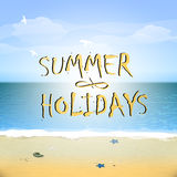 Summer poster with sky and sea. Royalty Free Stock Photo