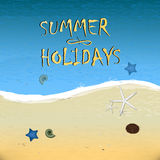 Summer poster with sky and sea. Royalty Free Stock Images