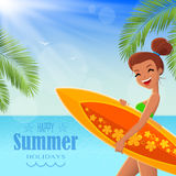 Summer poster with text badge Stock Photos