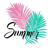 Summer poster with tropical palm leaf and handwriting lettering. stock illustration