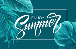 Summer poster with tropical palm leaf and handwriting lettering. Vector illustration. EPS10 stock illustration