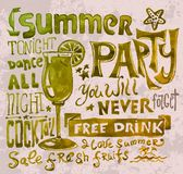 Summer poster. Typography  background Royalty Free Stock Photography