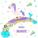 Make magic poster with a unicorn on a donut rainbow - vector illustration, eps vector illustration