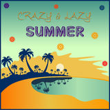 Summer poster. With warm colours on background Stock Photography