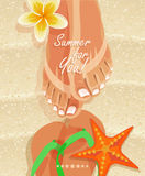 Summer poster with woman's legs and flip-flops on sandy beach background Stock Photos