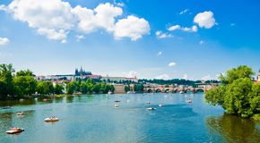 Summer Prague above River Vltava Royalty Free Stock Photo