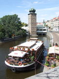 Summer in Prague. Sunny day in the centre of Prague. View at Manes tower and botel Stock Images