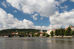 Summer in Prague. View of the Vltava river and the city`s attrac Royalty Free Stock Image