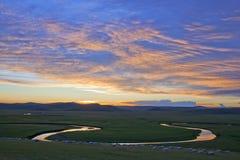Summer prairies sunset glow stock image