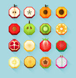 Summer print stylized fruits collection. Flat Material design fruit icon set with feeling of spatial. Hexagon fruit cut in half. Papaya, pitahaya and pineapple vector illustration