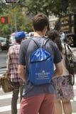 Summer program student wear backpack. High School student wearing backpack for University Summer program Royalty Free Stock Photography