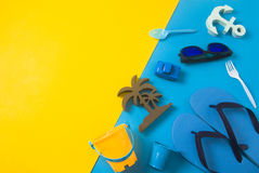 Summer prop and gadget on paper color. Top view of copy space for summer concept Royalty Free Stock Image
