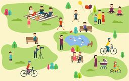 Summer public park with active people, family vacation, walk with dog, ride bicycles. Royalty Free Stock Images
