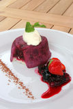 Summer pudding,. Freah summer pudding served with cream Stock Photos
