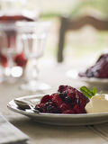Summer Pudding with Clotted Cream Stock Image