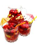 Summer punch cocktail drink with fruit Stock Photo