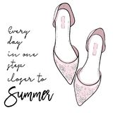Summer quote. Elegant fashion shoes, sandals, flats vector. Illustration Royalty Free Stock Image