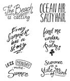 Summer Quotes inspiration, travel and journey phrases, calligraphy vector illustration. Hand drawn lettering. Set of vector illustration