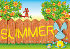 Summer. Rabbit wrote summer on a picket fence Royalty Free Stock Images