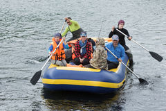 Summer rafting on Kamchatka Peninsula in cloudy weather Stock Images