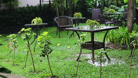 Summer rain in cafe. Furniture in summer cafe at resort during rain stock video