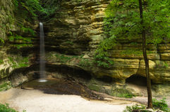 After the Summer rain. Cascade after the morning Summer rain in St. Louis Canyon.  Starved Rock State Park, Illinois Royalty Free Stock Photography