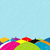 Summer rain with colored umbrellas background Royalty Free Stock Photos
