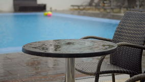 Summer rain dripping on the table by the pool in the hotel. HD stock video