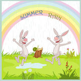 Summer rain. Gladness nice hare under summer rain royalty free illustration