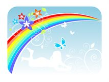 Summer rainbow. Rainbow, butterflies, flowers and a silhouette of the girl on a white background Royalty Free Stock Photography