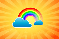 Summer Rainbow. Illustration Of Summer Rainbow Surrounded By Clouds After Rain vector illustration