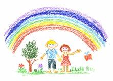 Summer rainbow stock illustration