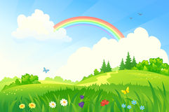 Summer rainbow. Illustration of a beautiful summer landscape with a rainbow vector illustration