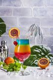 Summer rainbow layered cocktail. Glass of layered rainbow summer cocktail decorated with cherry and slice of red orange. Exotic summer drink. Copy space royalty free stock photography