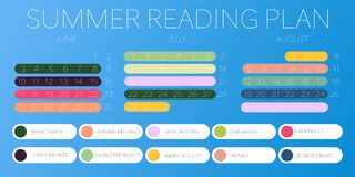 Summer reading plan best author blue background royalty free illustration