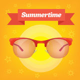 Summer realistic sun protection sunglass with red ribbon. Royalty Free Stock Photo