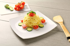 Summer recipe of spaghetti Royalty Free Stock Photography