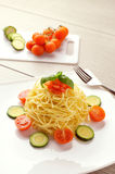 Summer recipe of spaghetti Stock Images