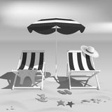 Summer. Recliners and Beach umbrella. Black and white photo effect. Sea. Vector Illustration Royalty Free Stock Photo