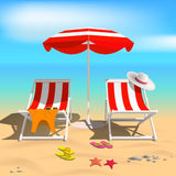 Summer. Recliners and Beach umbrella. Sea. Vector Illustration Royalty Free Stock Photo