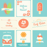 Summer Recreation Activities Posters and Design Elements Stock Images