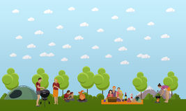 Summer recreation concept vector banner in flat style. People camping in park Stock Photo