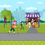 Summer Recreation in Park Flat Vector Illustration stock illustration