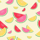 Summer red, pink and yellow watermelons seamless pattern stock illustration