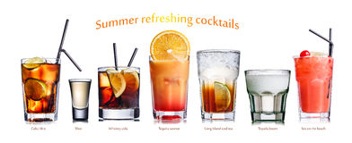 Summer refreshing cocktails. Collection of widely known refreshing summer alcoholic cocktails Stock Photos