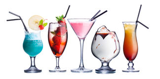 Summer refreshing cocktails. Collection of widely known refreshing summer alcoholic cocktails.Fresh, clean look Stock Photography