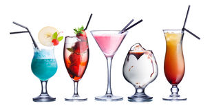 Summer refreshing cocktails. Collection of widely known refreshing summer alcoholic cocktails.Fresh, clean look Stock Photo