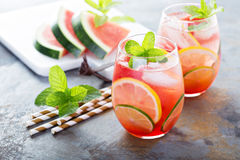 Summer refreshing cocktails with watermelon. And citrus fruits royalty free stock photo