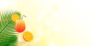Summer cocktail design with tropical decoration. vector illustration