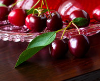 Summer refreshing dessert - red berries jelly with cherries Stock Photos